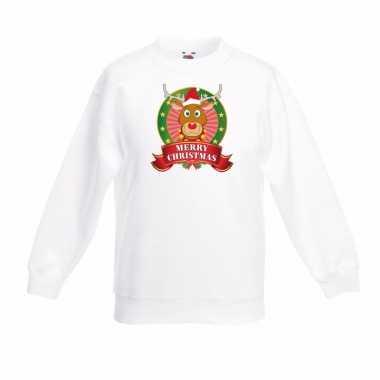 Witte kerst sweater voor jongens met rendieren print