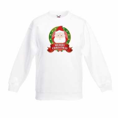 Witte kerst sweater voor kinderen de kerstman