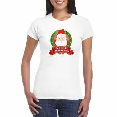 Witte kerst t shirt met kerstman print voor dames merry christmas