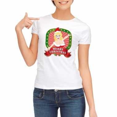 Witte kerst t shirt voor dames merry christmas