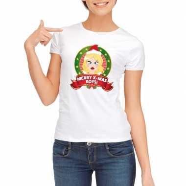Witte kerst t shirt voor dames merry x mas boys