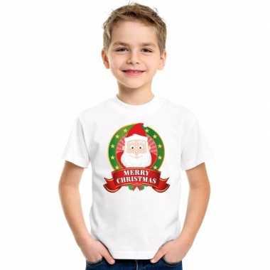 Witte kerst t shirt voor kinderen de kerstman
