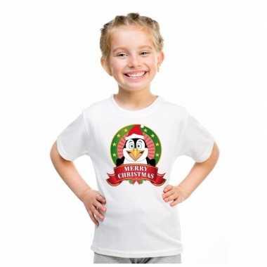 Witte kerst t shirt voor kinderen met pinguin