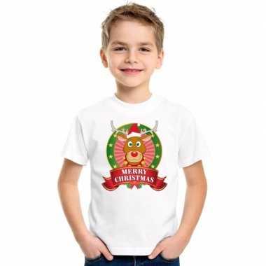 Witte kerst t shirt voor kinderen met rendier