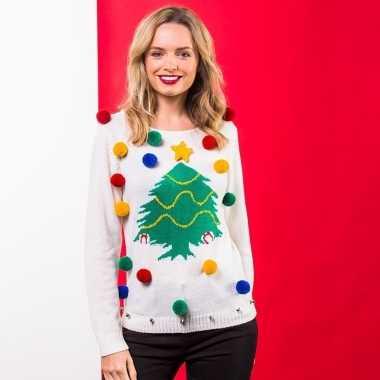 Witte kinderkersttrui voor kerst met kerstboom