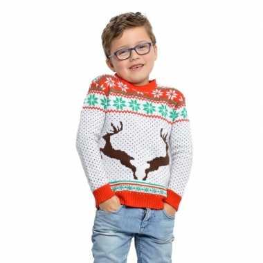 Witte kinderkersttrui voor kerst met rendieren