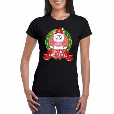 Zwarte eenhoorn kerst t shirt voor dames merry christmas