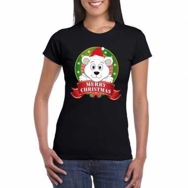 Zwarte ijsbeer kerst t shirt voor dames merry christmas