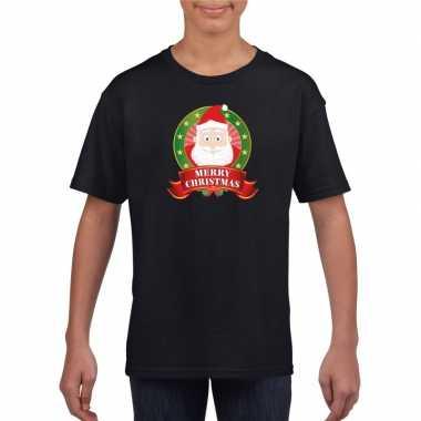 Zwarte kerst t shirt voor kinderen de kerstman