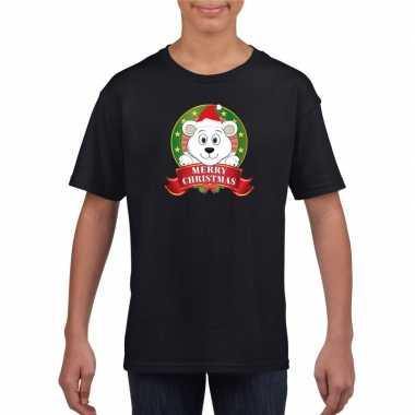 Zwarte kerst t shirt voor kinderen met ijsbeer
