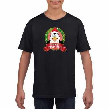 Zwarte kerst t shirt voor kinderen met pinguin