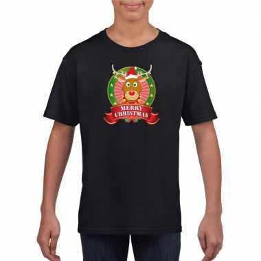 Zwarte kerst t shirt voor kinderen met rendier