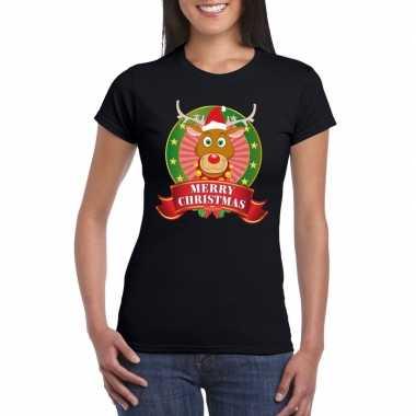 Zwarte rudolf kerst t shirt voor dames merry christmas