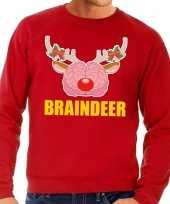 Foute kerstkersttrui braindeer rood voor heren
