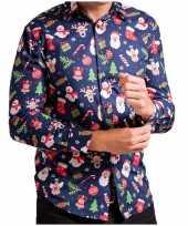 Heren kerst overhemd blouse met kerstprint donkerblauw
