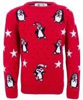 Kersttrui met pinguins voor meiden