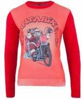 Popart kerstkersttrui biker santa
