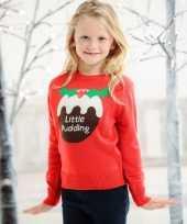 Rode kersttrui met cupcake voor kids